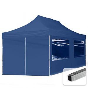 Intent24 TOOLPORT Tente Pliante 3x6 m - 4 côtés Aluminium Barnum Chapiteau Pliant Tonnelle Stand Paddock Réception Abri PES300 Bleu