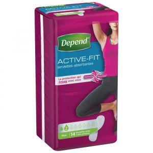 Depend Paquet de 14 serviettes hygiénique Active Fit - Femme - Mini