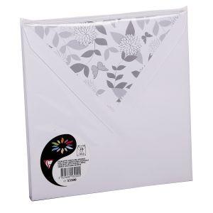 Pollen 53200C - Enveloppe 165x165, 120 g/m², coloris blanc, doublure Papillons, en paquet cellophané de 10