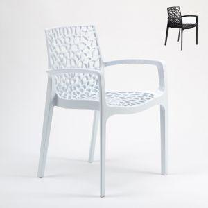 Grand Soleil Chaise en polypropylène accoudoirs jardin cafè GRUVYER ARM   Blanc