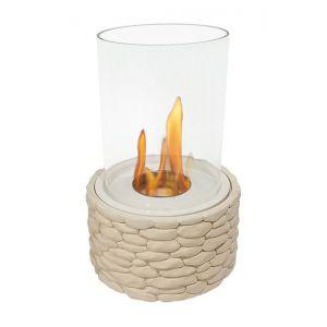 Purline Arctos - Cheminée de table tout en rondeur verre et imitation pierre