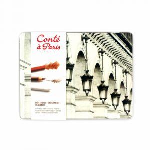 Conté à paris 500397 Boîte de 6 Crayons esquisses Assortis+ 12 Esquisses carrés + 2 Tortillons + Gomme mie de pain