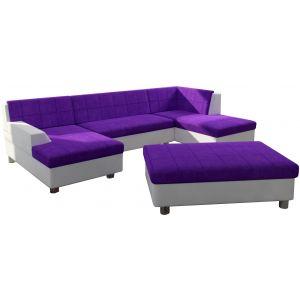Comforium Canapé d'angle panoramique design avec méridienne gauche et pouf en tissu violet et cuir synthétique blanc