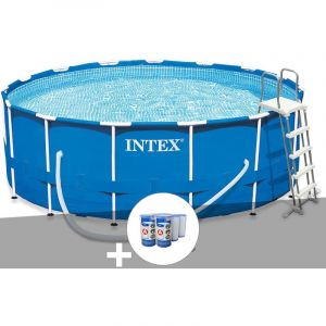 Intex Kit piscine tubulaire Metal Frame ronde 4,57 x 1,22 m + 6 cartouches de filtration