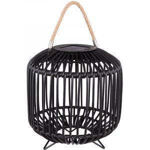 Globo Lampe solaire à LED, design cage, corde de chanvre, noir, D 23 cm