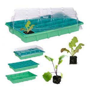 Image de Relaxdays Mini serre d'intérieur 24 compartiments couvercle semis terrine plants fleurs légumes 38 x 24,5 cm, vert