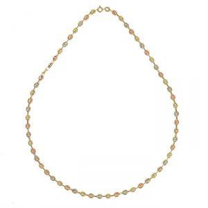 Rêve de diamants CDMC432 - Collier tricolore en or maille grain de café