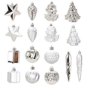 Kit de 16 décorations de Noël argent