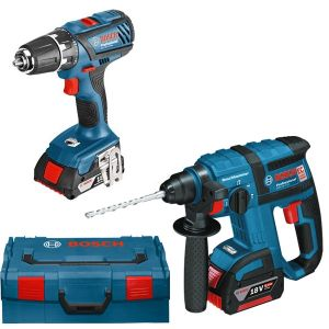 Bosch Professional 0615990H5M - Pack 2 machines perforateur GBH 18V-EC + Perceuses-visseuses GSR 18-2-LI Plus