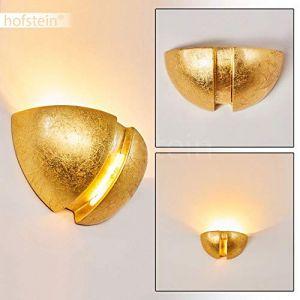 Hofstein Applique murale Karatschi doré à effet Up & Down - demi-cercle artistique - Lampe moderne à LED pour salon - salle à manger - couloir - douille E27