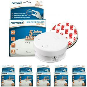 Nemaxx 5x détecteur de fumée Mini-FL2 - mini-détecteur discret et de haute qualité Alarme de fumée avec batterie au lithium - selon la norme DIN EN 14604 + 5x kit magnétique