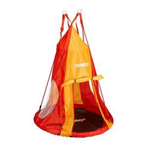 Relaxdays Tente balançoire nid d'oiseau 90 cm accessoire jardin siège rond revêtement, rouge-orange