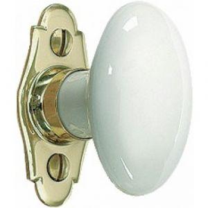 Mérigous Poignée de fenêtre à bouton porcelaine ovale