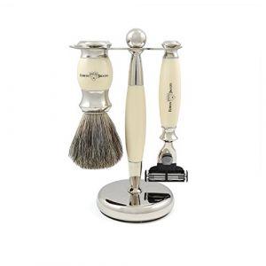 Edwin jagger Kit de rasage 3 pièces avec Blaireau et Rasoir Gillette Mach 3 - Couleur ivoire
