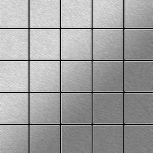 Alloy Mosaïque métal massif Carrelage Acier inoxydable brossé gris Grosseur 1,6mm Century-S-S-B 0,5 m2