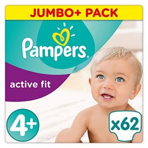 Pampers Active Fit taille 4+ (9-18 kg) - Jumbo+ Pack 62 couches