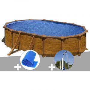 Gre Kit piscine acier aspect bois Mauritius ovale 5,27 x 3,27 x 1,32 m + Bâche à bulles + Douche