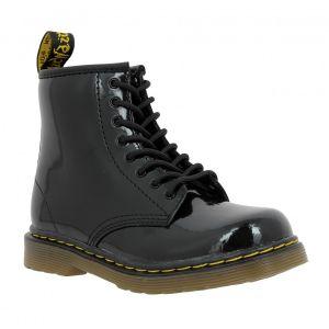 Dr. Martens Delaney, Boots mixte enfant - Noir (Black Patent Lamper) - 33 EU (1 UK)