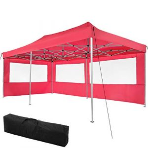 TecTake Tonnelle de Jardin Terrasse Pliante Autoportée Réglable 6 x 3 m Structure en Aluminium à 2 Parois Rouge + Sac de Transport