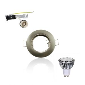 Superled Kit Spot LED GU10 COB 5W dimmable 50W Blanc chaud 2700K fixe aluminium