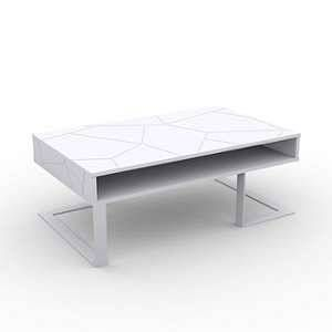 Table basse design 100x37,5x60 cm blanc - SPACE