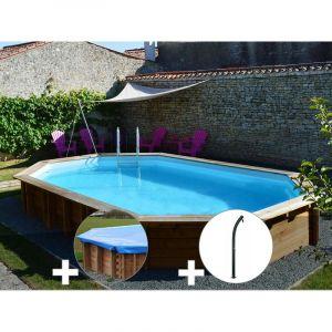 Sunbay Kit piscine bois Safran 6,37 x 4,12 x 1,33 m + Bâche hiver + Douche