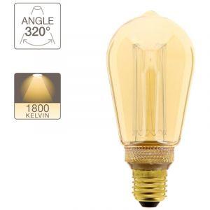 Ampoule LED déco hologramme Edison verre ambre culot E27 blanc chaud