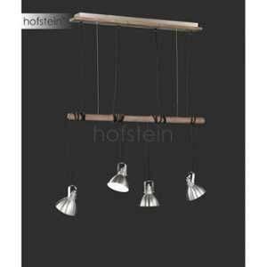 Trio Suspension, Timber 4xE14, max.28,0 W metal, Nickel mat, Corps: metal, couleur de bois L:85,0cm, L:12,0cm, H:150,0cm IP20
