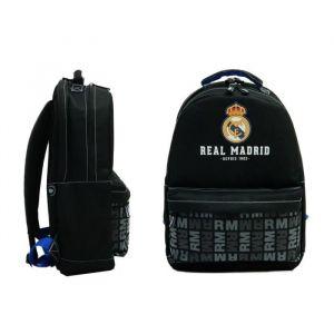 Football REAL MADRID Sac à Dos - 2 Compartiments - Primaire / Collège - 43 cm - Bleu et noir - Enfant Garçon