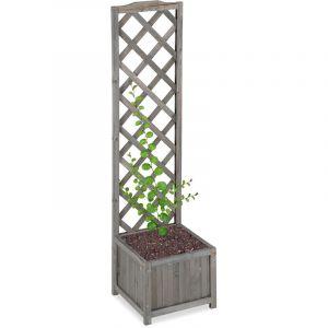 Relaxdays Jardinière avec treillis espalier Tuteur plantes grimpantes bac à fleurs bois vigne lierre 25L, 147cm, gris