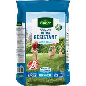 Vilmorin Semences de gazon ultra-résistant Label Rouge - 15 kg - 15 kg - Pureté spécifique 10 fois supérieure - Taux de germination supérieur de 10%