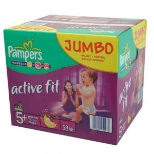 Pampers Premium Protection Active Fit Taille 5+ (Junior+) 13-25 kg - Pack Jumbo Plus de 58 couches
