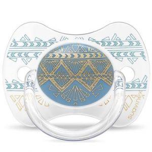Suavinex Sucette anatomique réversible Couture Ethnic bleu et doré en silicone (4-18 mois)
