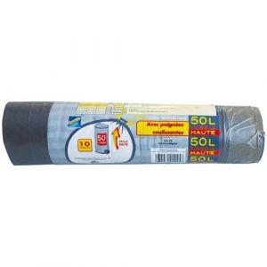 908014134029b Publi embal Sacs poubelle haute 50l avec poignées coulissantes x10 - Sac  poubelle, Housse container