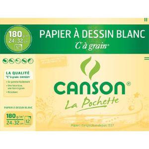 Canson 27102 - 12 Feuilles de papier dessin C 180 g (A4+)