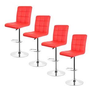 Oobest 6x Tabourets de bar fautruil chaise en hauteur reglable 9 grilles en simili (rouge)
