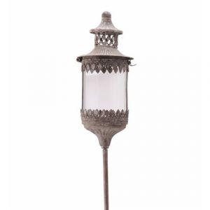 L'héritier du temps Lanterne Ronde Sur Pic à Piquer Planter Lampion Porte Bougie Luminaire Intérieur Extérieur en Fer Gris Antique 13,5x13,5x131cm 131