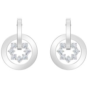 Swarovski Boucles d'oreilles 5499002 - Flocons De Neiges Cristaux Cercle Argenté
