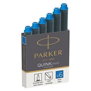 Parker Cartouches courtes pour stylos plumes - Boîte de 6 bleue