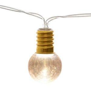 Atmosp ra Guirlande décorative l ineuse Doré 10 Ampoules LED Style Guinguette L 165 cm