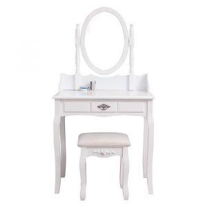 Coiffeuse classique blanche + tabouret - L 75 cm - Panneaux particules blanc - Coiffeuse L75 x P40 x H143 cm, tabouret L37 x P28 x H45 cm - 1 tiroir, 1 miroir