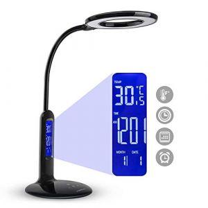 AGS Flexo Aigostar 10KZO - Lampe de bureau LED de 7W, tactile, 360lm. Écran LCD avec heure, calendrier, température, réveil. 5 niveaux d'intensité, 2 modes d'éclairage blanc et lumière chaude. Noire.
