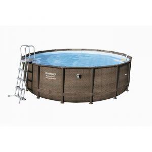 Bestway Kit piscine ronde Power Steel Frame Pool Tréssé Ø 488 x H 122 cm