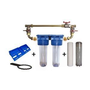 """Toodo Double porte filtre à eau 9""""3/4 - 20/27F avec cartouche 20µm + Polyphosphate + by-pass"""