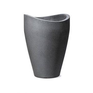 Scheurich 54265 254/40 Wave Globe High Pot De Fleurs Plastique Granit Noir 30 X 30 X 40 Cm