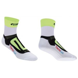 BBB cycling Soquettes ErgoFeet ThermoCool (blanc/jaune fluo) - BSO-04 - 43-46