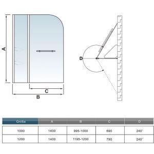 AICA Sanitaire Pare baignoire 100x140cm paroi de douche pivotante à 240¡ãverre securit avec porte-serviette