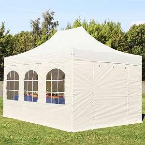 Intent24 Tente pliante / pliable PREMIUM 3x4,5 m avec fenêtres en Polyester de qualité beige.FR