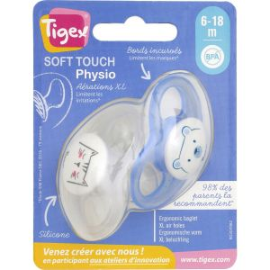 Tigex Sucette Physio Silicone 6-18 Mois - Les 2 Sucettes