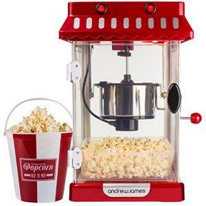 Andrew James Machine À pop-corn retro + 4 seaux à Pop-Corn réutilisables